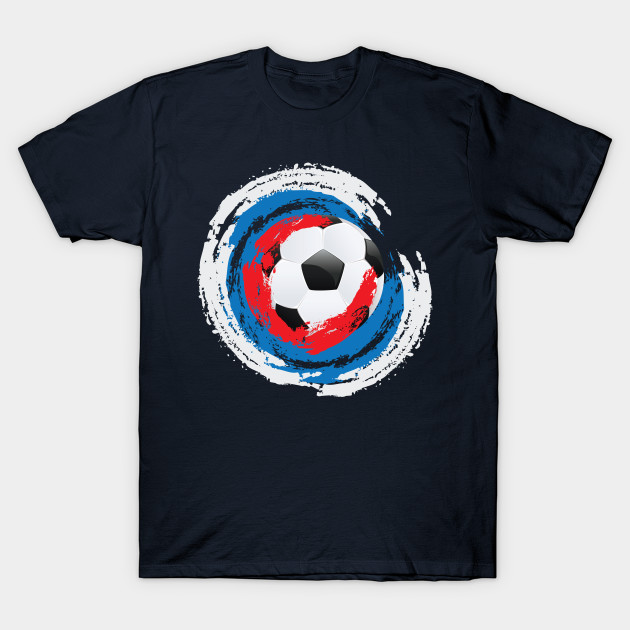 Football Ball and red, white and blue Strokes