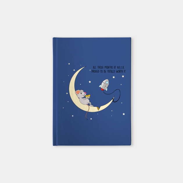 mouse flyes to the moon for cheese