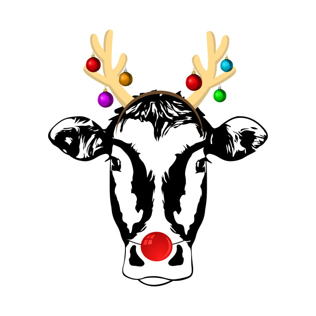 Christmas Cow.Christmas Cow With Antlers And Red Nose