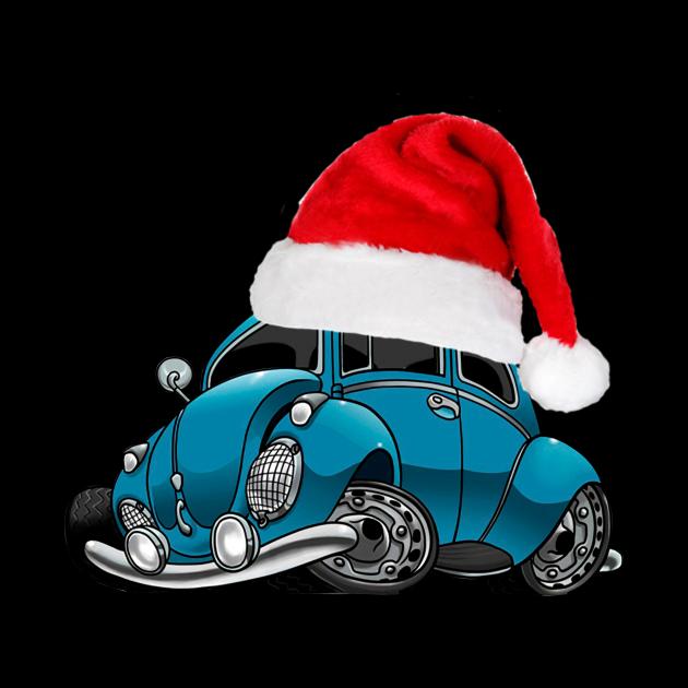 Blue Car With Santa Hat Christmas