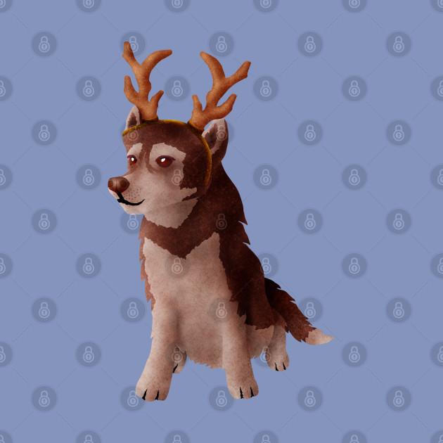 Husky wearing deer antlers