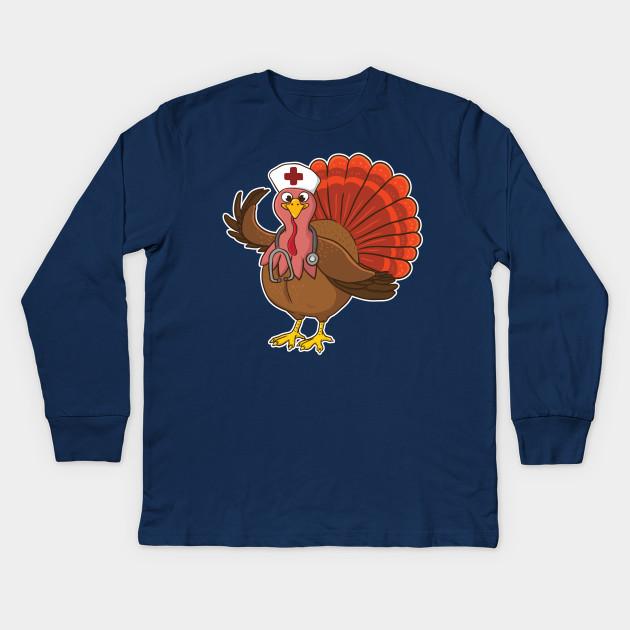 0adf2c6c18 RN Nurse Turkey Halloween - Nurse - Kids Long Sleeve T-Shirt | TeePublic