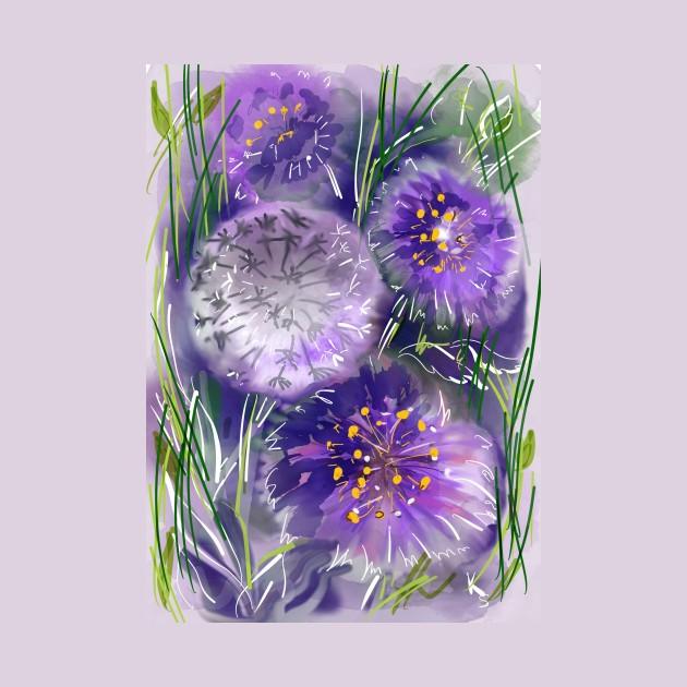 Watercolor violet floral art