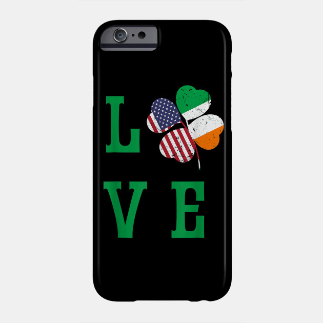 American Irish Flag St. Patrick s Day Shirt Shamrock Tee Phone Case