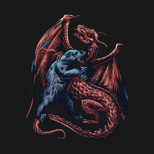 Bear vs Dragon Colored