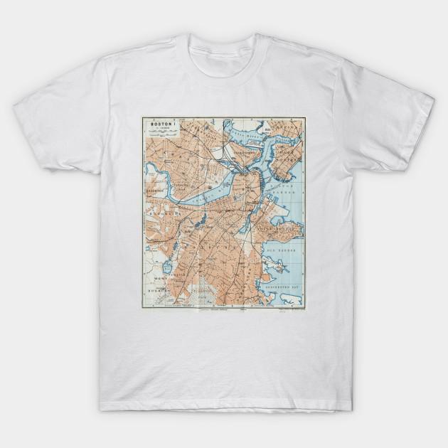 Vintage Map Of Boston Ma 1906 Boston Map T Shirt Teepublic
