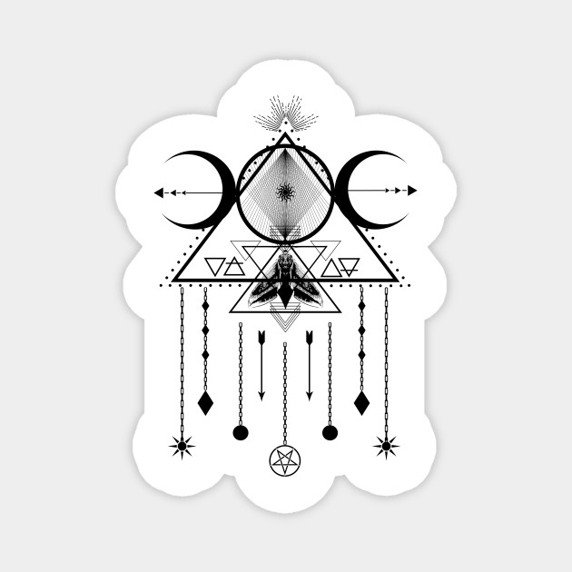 Wicca Sacred Geometry Moon Symbol And Dreamcatcher Talisman Wiccan Symbols Aimant Teepublic Fr