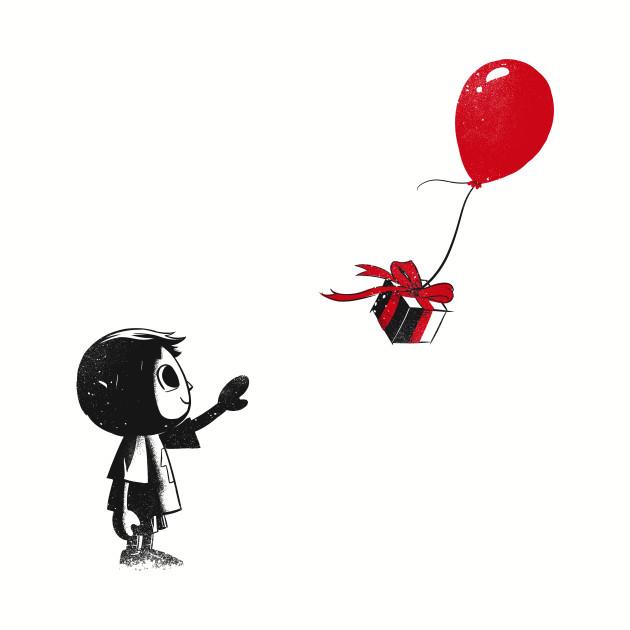 villager with a ballon