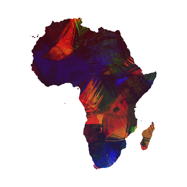 Africa Colorful Africa Continent Art Map