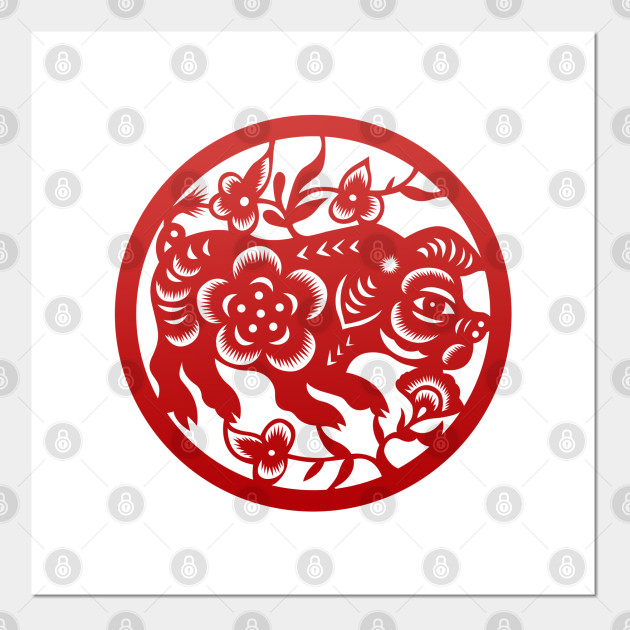 Chinese Zodiac Pig in Red