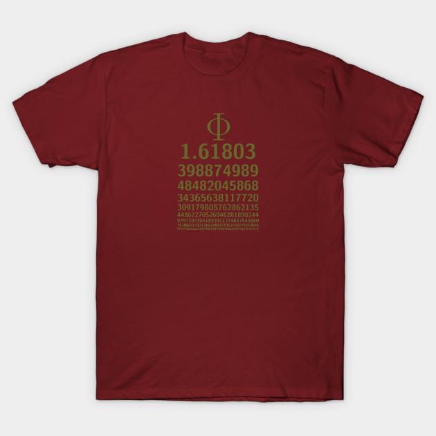 1618 Phi Golden Ratio Symbol Math Lovers Phi Ratio T Shirt