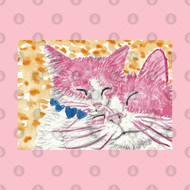 Mother and baby cat pink