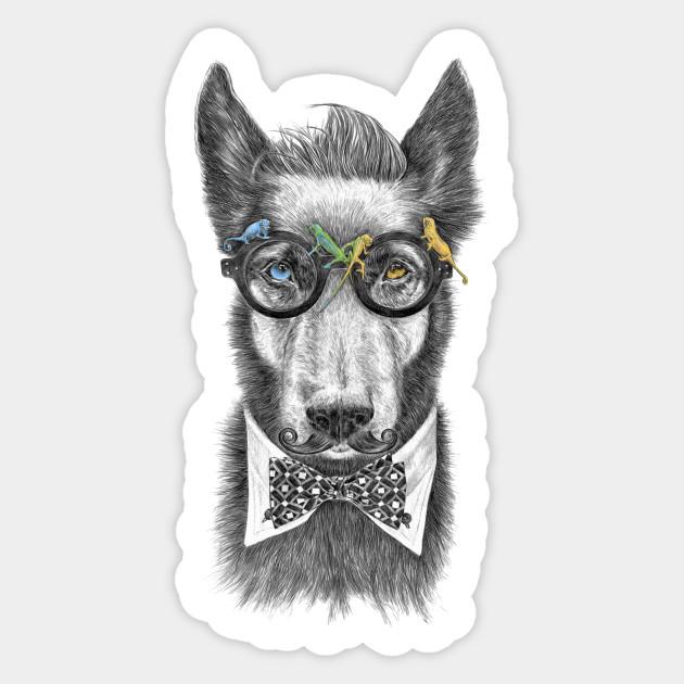 Hipster Dog Ii Wolf Sticker Teepublic