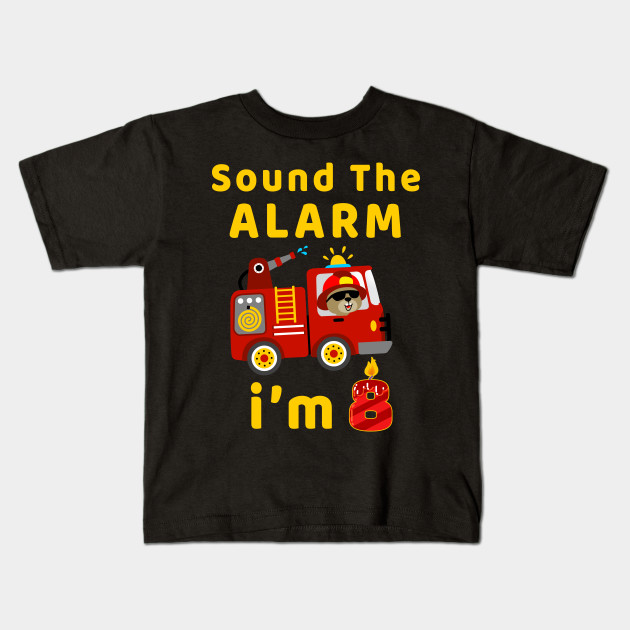 Fire Truck 8 Years Old Birthday T Shirt Kids Gift