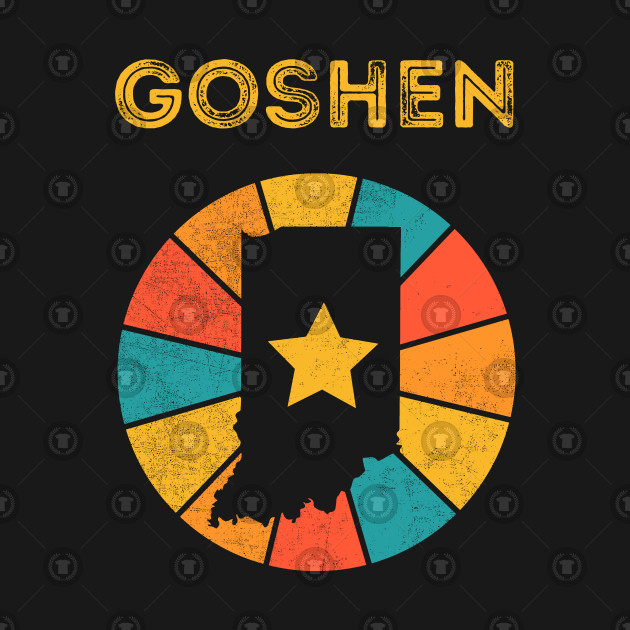 Goshen Indiana T-Shirt Vintage City Retro Souvenir US State Silhouette Lover Gift With Star