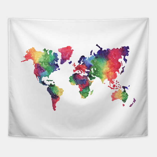 Rainbow world map world map tapestry teepublic 547362 1 gumiabroncs Image collections