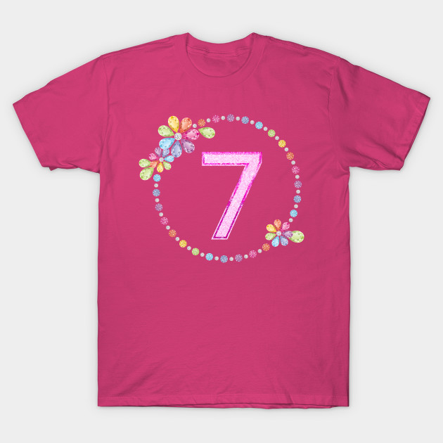 Charming 7th Birthday Shiny Rainbow Jewel Cute Gift T Shirt