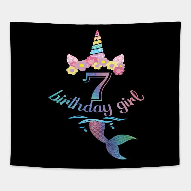 7th Birthday Girl Boy T Shirt 7 Years Old Party Gift Tapestry