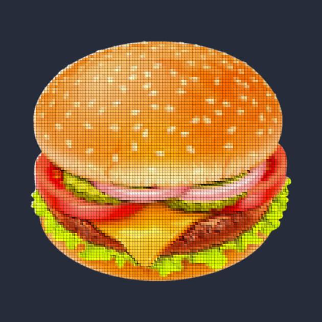 Hamburger Cheeseburger Pixel Art Cartoon