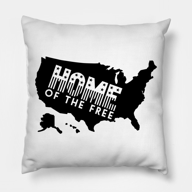 Usa Map Home Of The Free 4th Of July Pillow Teepublic