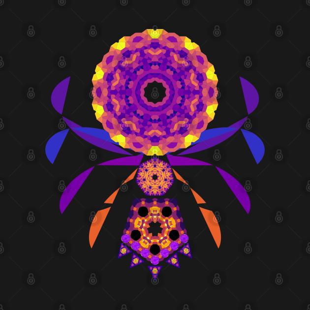 Mandala Orb Web Spider | Amethyst Ruby Citrine Yellow Red Purple Black