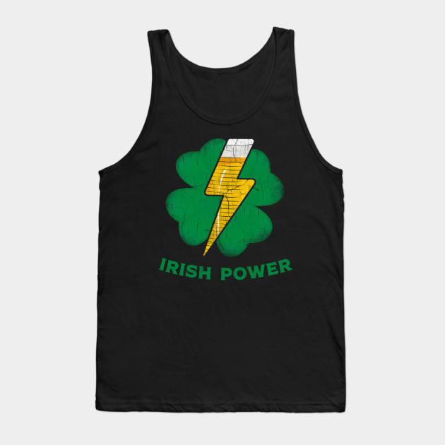 Irish Shamrock Power Funny St.Patrick's Day Beer Drinking Tank Top
