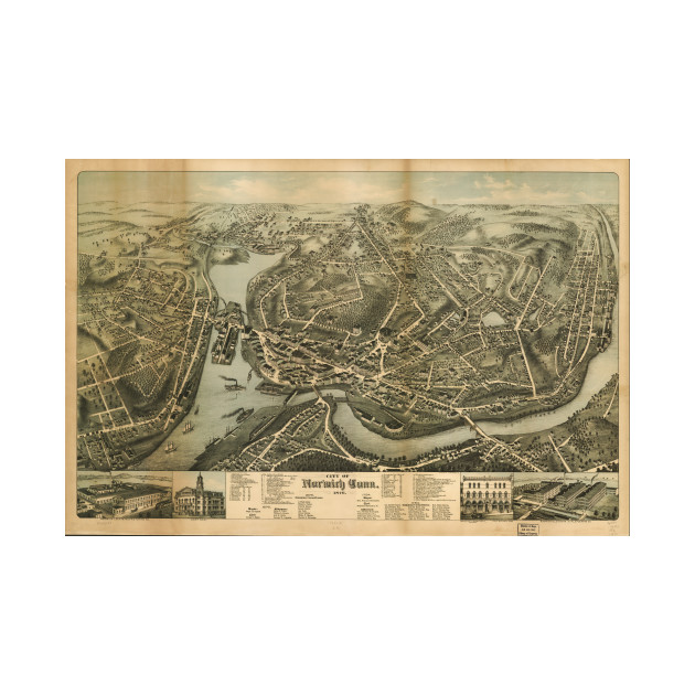 Vintage Pictorial Map of Norwich CT (1876) - Norwich Map - Pillow ...