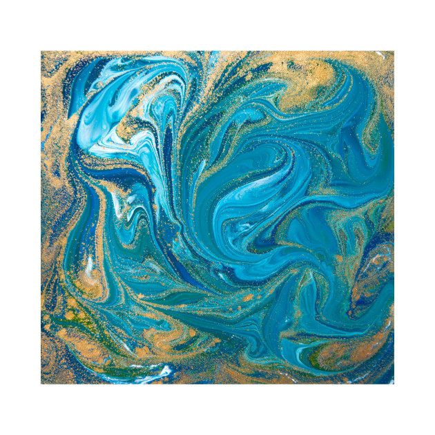 Blue Gold Abstract Painting