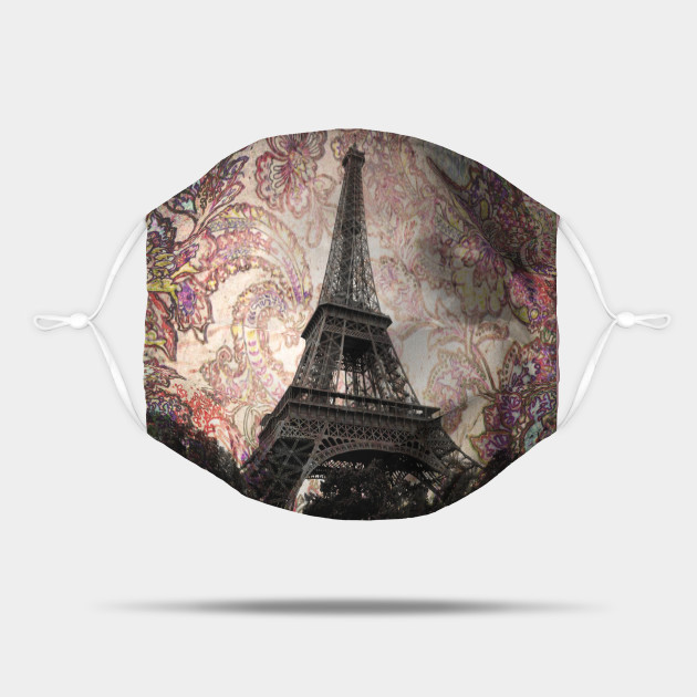 Floral Eiffel Tower in Paris, France Mask