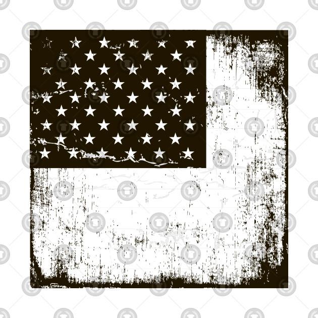 Grunge Aged Monochrome American Flag