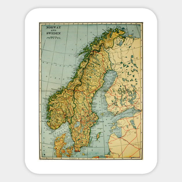 Vintage Map of Norway and Sweden (1921) on norway outline,