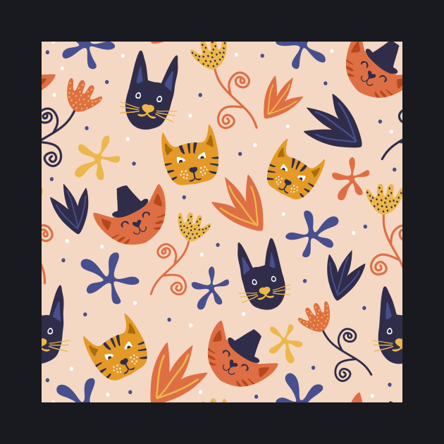 Boho cat with seamless floral pattern