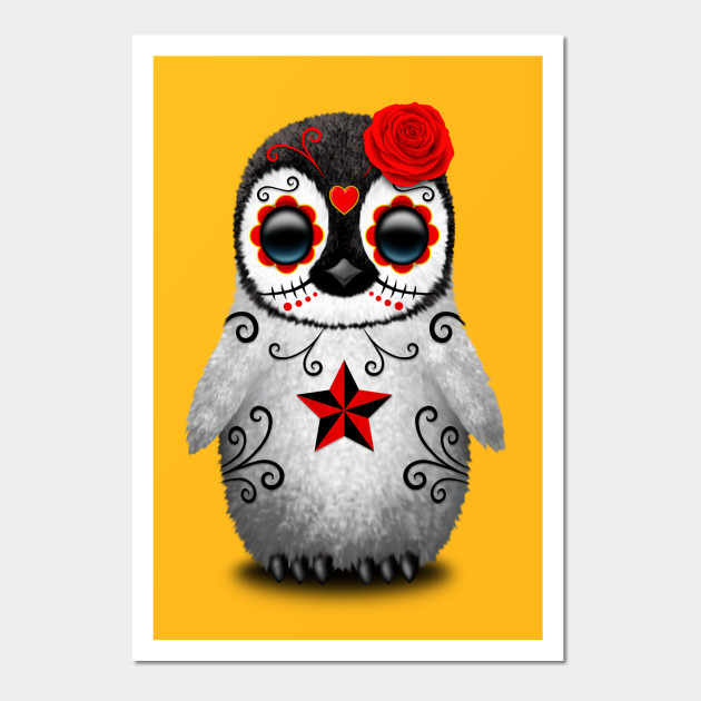 Red Day of the Dead Sugar Skull Penguin - Day Of The Dead - Wall Art ...