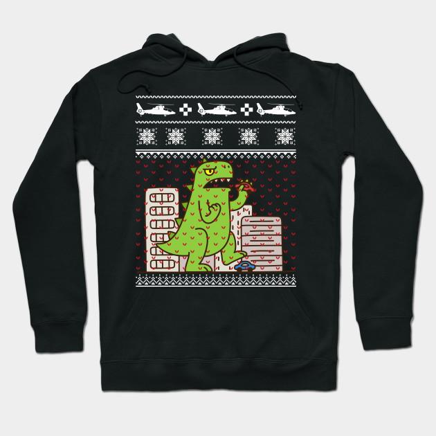 Godzilla Ugly Christmas Sweater Godzilla Hoodie Teepublic