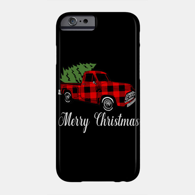 New Christmas Merry Christmas Buffalo Plaid Pickup Truck Phone Case