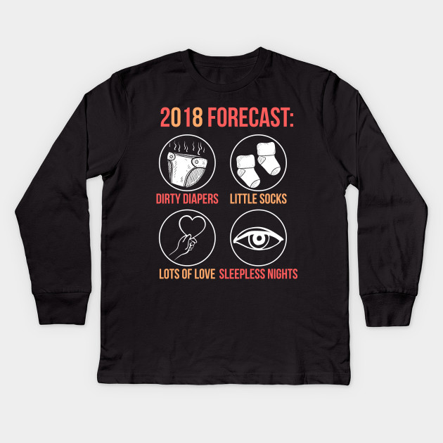 92fdcfdba 2018 Forecast New Mom Dad Expecting Baby T-Shirt Kids Long Sleeve T-Shirt