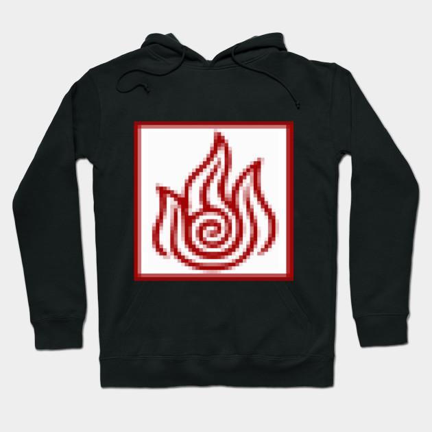 Pixelated Fire Symbol Firebending Hoodie Teepublic