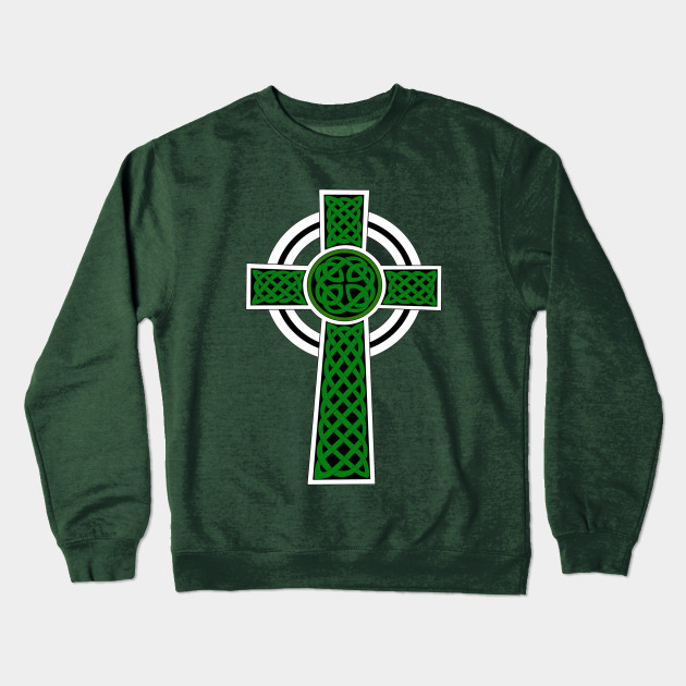d6fa14b91 Green Irish Celtic Cross Decor for St Patricks Day Crewneck Sweatshirt