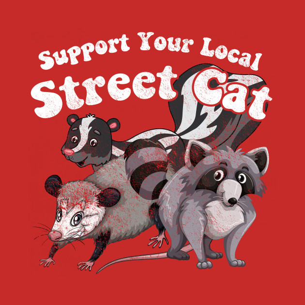 Support your Local Street Cat, distressed