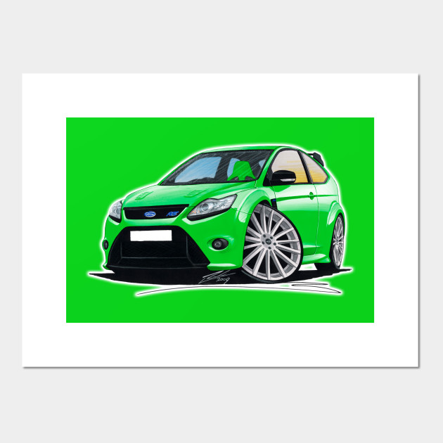 Ford Focus Mk2 Rs Green Caricature Car Art