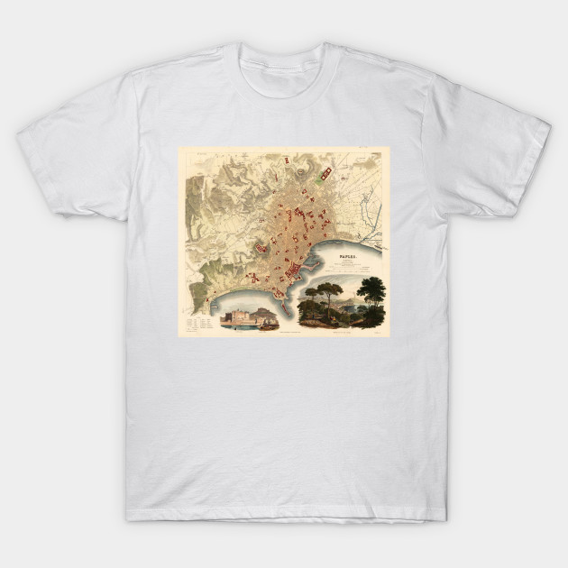 Vintage Map of Naples Italy (1835) - Naples Map - T-Shirt | TeePublic