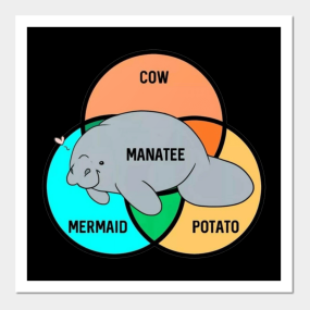 458f5e2ff2cd Manatee Cow Mermaid Potato T-Shirt Posters and Art