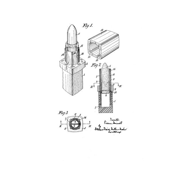 Lipstick Vintage Patent Drawing