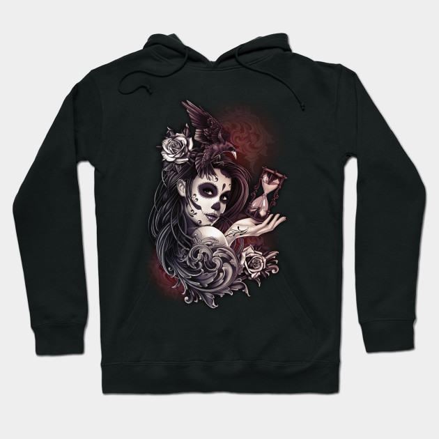 Dead Girl with Roses Hoodie Sugar Skull Face Day of the Dead Sweatshirt