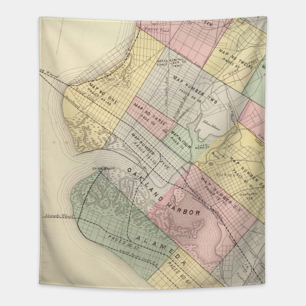 Vintage map of oakland california 1878 oakland map tapestry 2026536 1 publicscrutiny Image collections