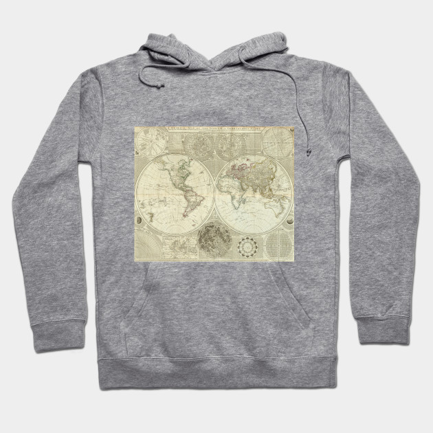 Vintage map of the world 1787 world map hoodie teepublic 1890793 1 gumiabroncs Image collections
