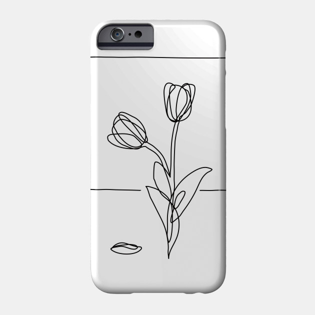 new concept 5a2ad 3e563 Tulip Flowers Line Drawing - Black