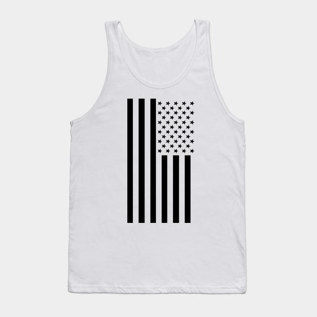 6c2e9053726e41 Black   White American Flag - Usa - Tank Top