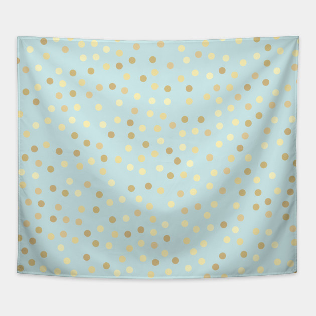 Gold Polka Dots Baby Blue Background Artwork Polka Dots Tapestry
