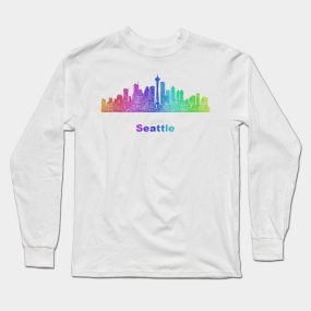 e33a35d585e1b Rainbow Seattle skyline Long Sleeve T-Shirt